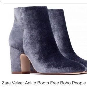 💙Zara Blue/Gray Velvet Boot💙6🌟NWT🌟